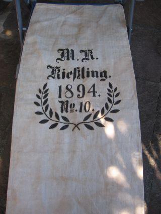 Wunderschöner,  Alter Mehlsack,  M.  R.  Rießling (kießling?) 1894,  Nr.  10,  Leinen Bild