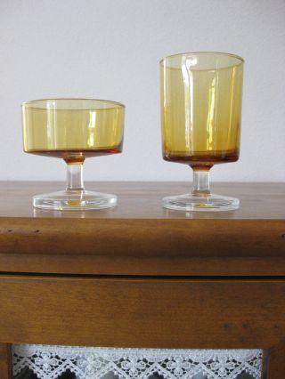 Luminarc Sekt - & Weinglas Frankreich Gelb Mit Klarem Stiel Unbenutzt Bild