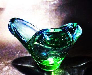 Schale Murano - Stil Überfangglas Blau Grün 50er J.  Tschechoslowakei Bild