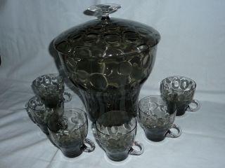 60er 70er Jahre Bowle - Rauchglas - Glas - 6 Gläser Retro - Blubbles Vintage Bild