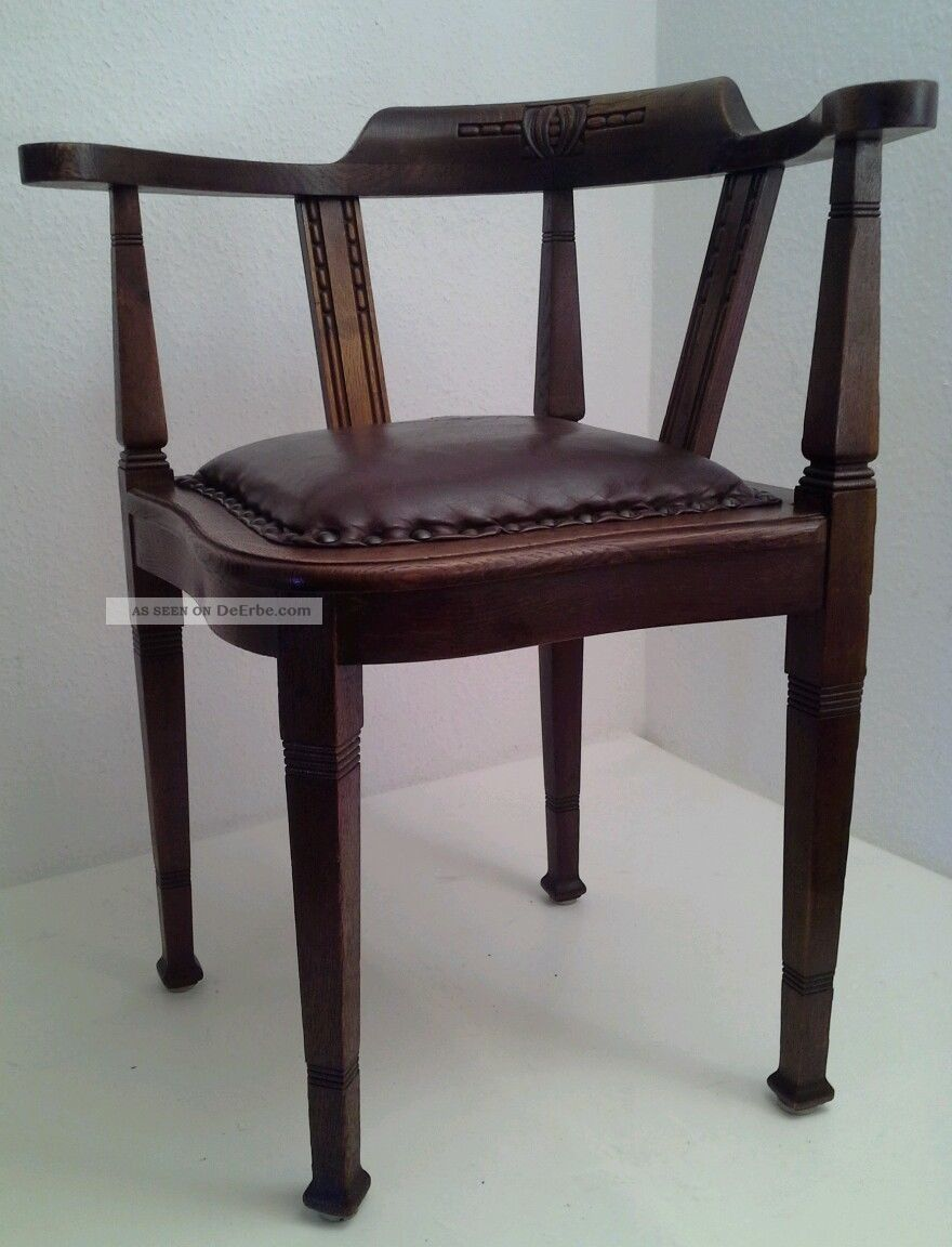 antiker eckstuhl schreibtischstuhl jugendstil leder kapit nsstuhl gr nderzeit. Black Bedroom Furniture Sets. Home Design Ideas