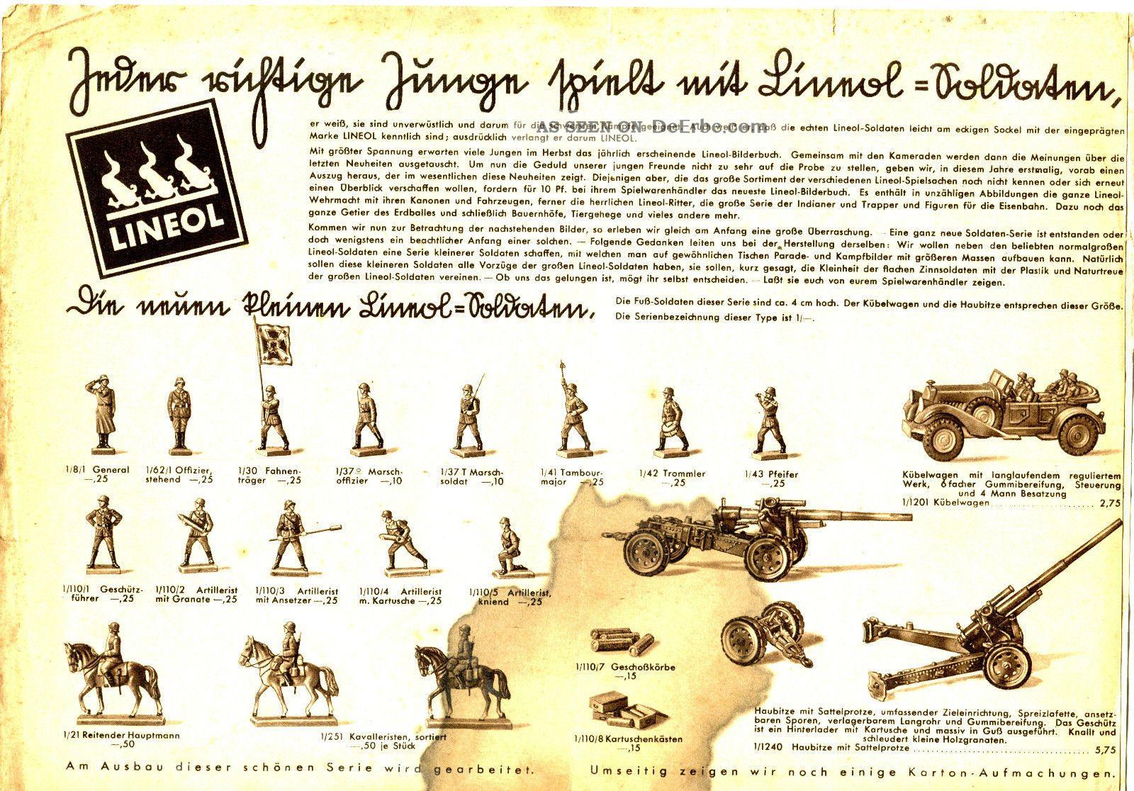 Lineol Soldaten Werbung Reklame Faltblatt 30er Jahre Elastolin & Lineol Bild