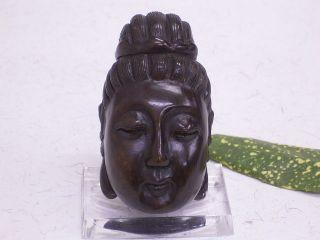 Buddha - Kopf: Handarbeit / Signiert: Holz: Geschnitzt: Netsuke: Asiatika Bild