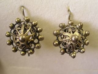 Trachten Ohrringe Silber Sehr Filigran Alte Stücke Bild