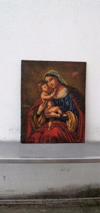 Ölgemälde,  Maria Mit Jesuskind Sakrales Thronende Maria Mit Christuskin Bild