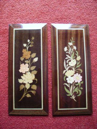 2 Intarsien Bilder,  Blumen Motiv,  Hochglanz,  Sehr Schöne Arbeit,  Einwandfreie Op Bild