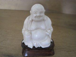 Alter Chinesischer Buddha Aus Edlem Bein Geschnitzt Auf Holzsockel Bild