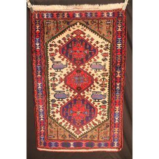 Alter Handgeknüpfter Orient Teppich War Rug Heriz Kurde Carpet Tappeto 160x100cm Bild