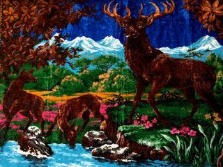 Wanddeko Wandteppich Aus Italien 170 X120 Hirsch Motiv Wandbehang Unikat Blau Bild