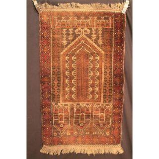 Alter Handgeknüpfter Orient Teppich Belutsch Art Deco Old Carpet Tapis 140x77cm Bild