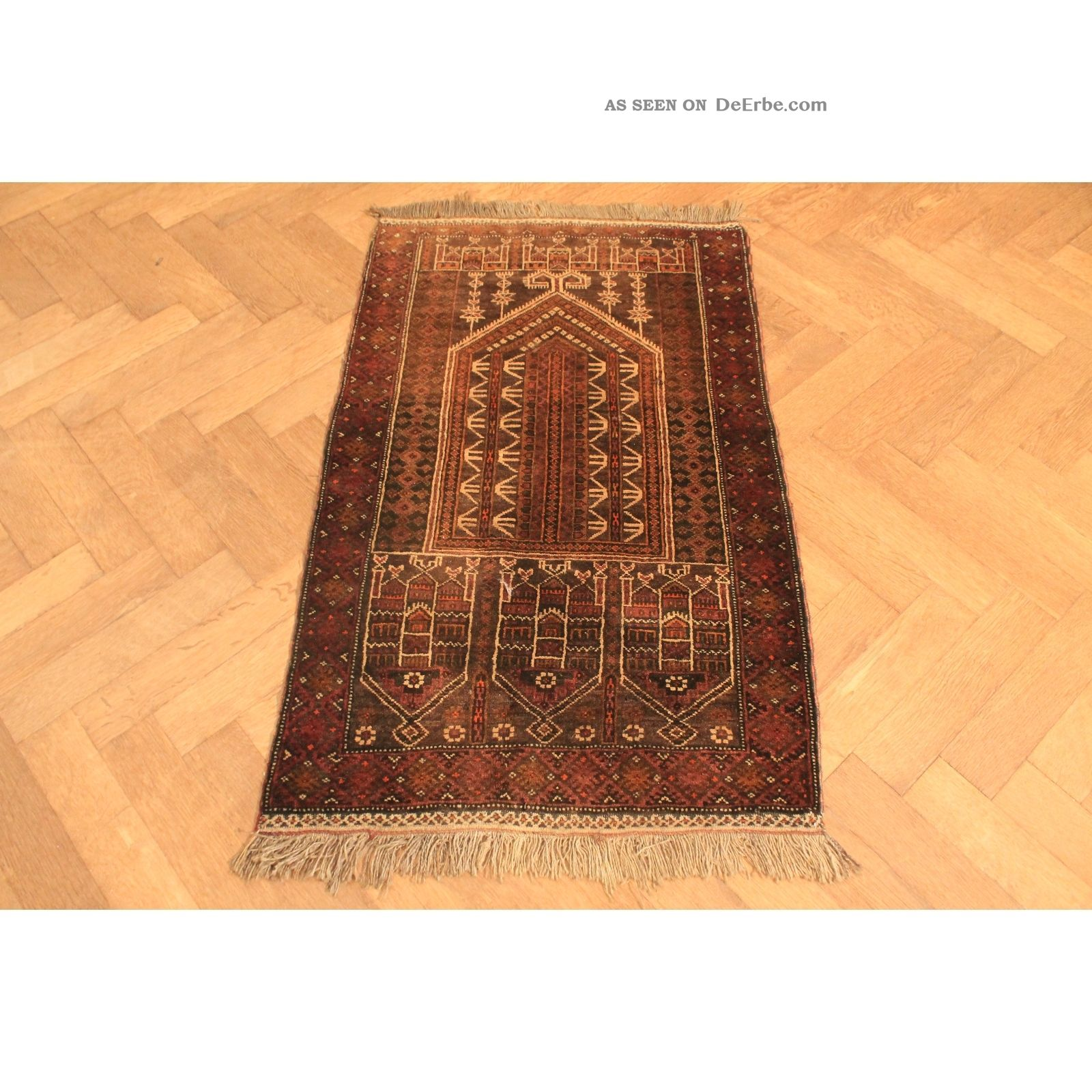 Alter Handgeknüpfter Orient Teppich Belutsch Art Deco Old