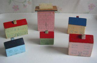 Konvolut Alte Holzhäuser Spielzeug Holz Shabby Chic 50er Bild