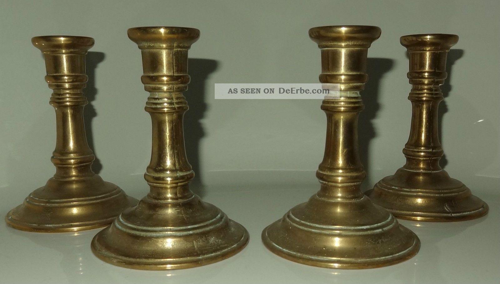 4 Kerzen - Ständer Gilde Handwerk Gold - Messing Bronze ? 70er Jahre Vintage Gefertigt nach 1945 Bild