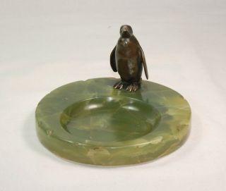 Antiker Bronze Pinguin Auf Onyx - Schale Um 1900 - Königspinguin Plastik Figur Bild