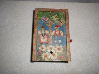 Alte Spieluhr Spieldose Mit Handkurbel Handgemalt Aus Holz Bild
