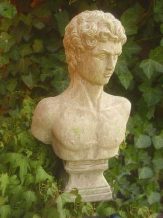Garten BÜste Statue Mann Figur RÖmisch Griechisch Antik Landhausstil Terrakotta Bild