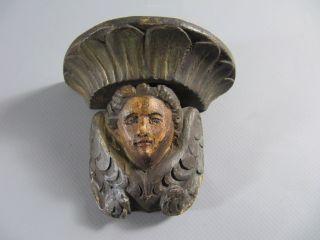 Rarität: Antike Kleine Wandkonsole Geschnitzt Bild