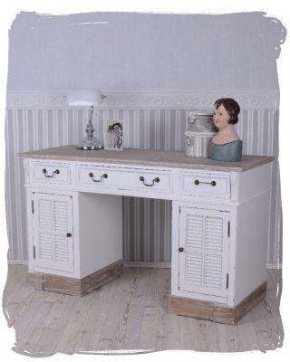 Schreibtisch Landhausstil Computertisch Weiss Schreibmöbel Shabby Chic Bild
