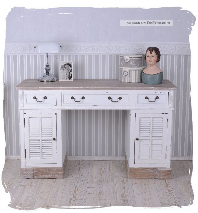 schreibtisch landhausstil computertisch weiss schreibm bel shabby chic. Black Bedroom Furniture Sets. Home Design Ideas