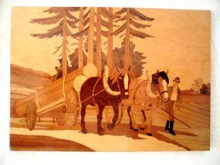 Großes Altes Holz Intarsienbild Pferde - Holztransport,  Intarsien Einlegearbeit Bild