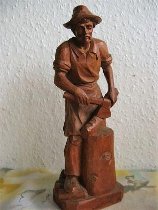 Wunderschön Geschnitzte Holzfäller Aus Südtirol - Holzfigur Bild