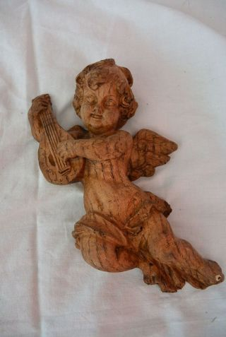 Putte Engel Holz Holzschnitzerei Handgeschnitzt Antik Ca.  20cm Bild
