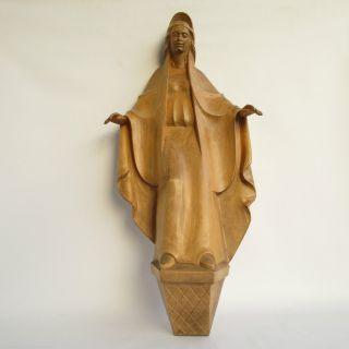 Madonna Massivholz Handgeschnitzt Lindeholz 52cm Groß Wand Skulptur Figur Bild