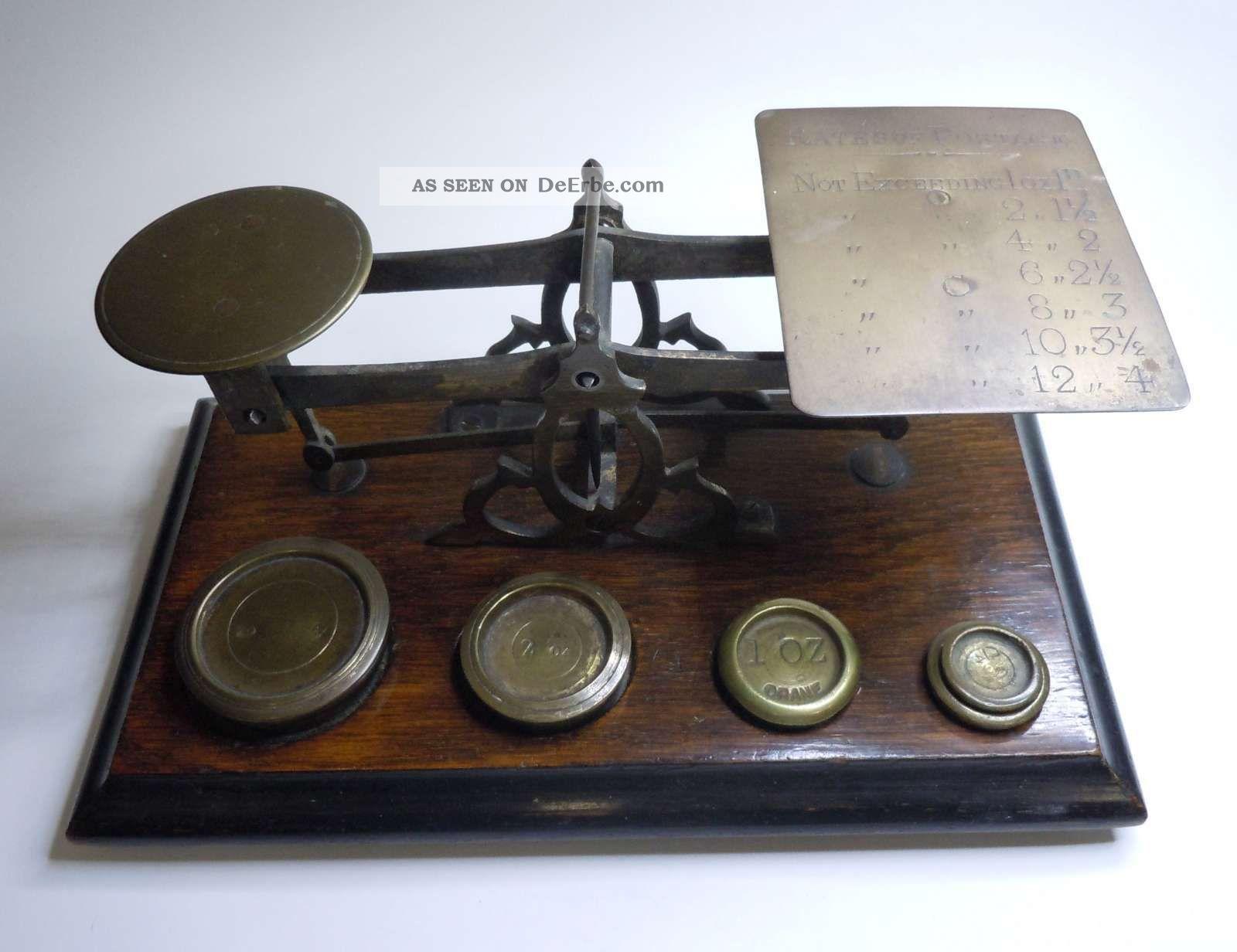 Antike Briefwaage Mit 5 Gewichten Oz England Um 1900 Kaufleute & Krämer Bild