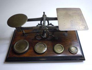 Antike Briefwaage Mit 5 Gewichten Oz England Um 1900 Bild
