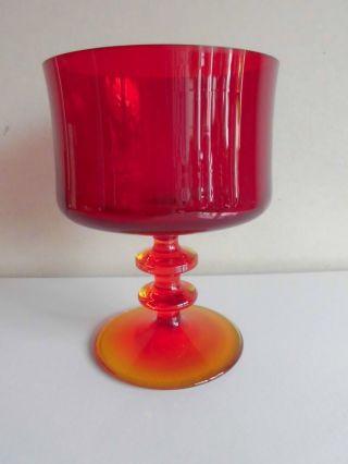 60er Jahre/ 60 ' S Mid - Century Glasschale Auf Fuß Rot Tafelaufsatz Bild