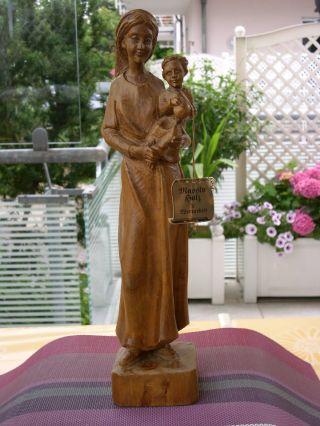 ältere Holzfigur - Heiligenfigur - Madonna Mit Kind - - Geschnitzt - Deko Bild