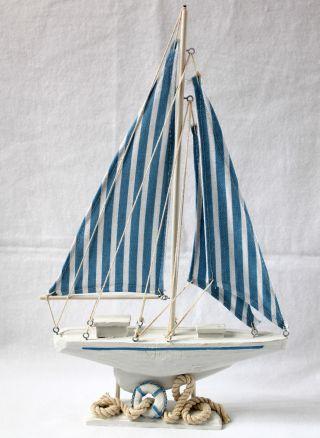 Segelschiff Blau - Weiss 42cm Holz Textil Schiff Boot Yacht Bild