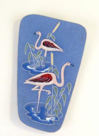 Goldige Hellblaue Keramik Flamencos Wandbild Platte Vintage Mid Century 50er 60 Bild