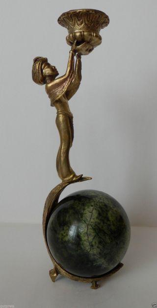 Kerzenständer Aladin Messing Serpentin Kugel Bild
