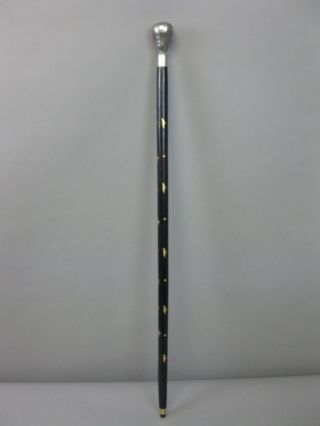 Gehstock Wanderstock Holz Schwarz Griff Silbern 93cm Mit Messingeinlagen Bild
