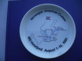 Norwegian American Cruises Rosenthal Porzellan Teller Ms Vistafjord 1981 Bild