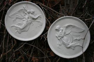 Zwei Engel Wand - Reliefs Nach Bertel Thorvaldsen,  Frostfest Steinguss Weihnachten Bild