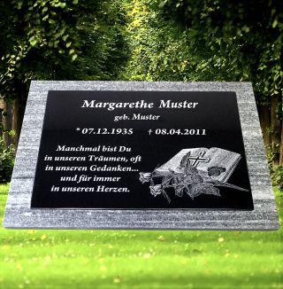 Grabstein Grabplatte Motiv Inkl.  Text Ca.  60x40x4cm Granit Gravur Liegestein Bild