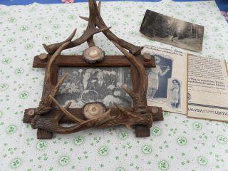 Alter Bilderrahmen Holz Mit Rehbock Gehörn 30 Jahre Bild