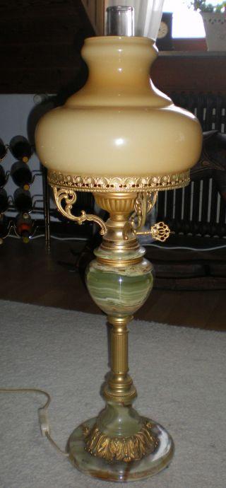 Tischlampe Antik,  Onyx / Marmor,  Messing,  Geschliffenes Glas Top - 1a Bild
