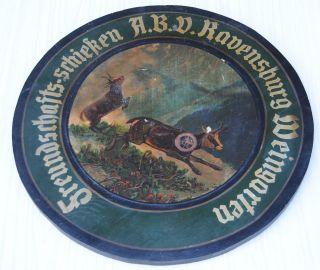 Alte Schützenscheibe Freundschaftsschießen Abv Ravensburg Weingarten Dat.  1929 Bild