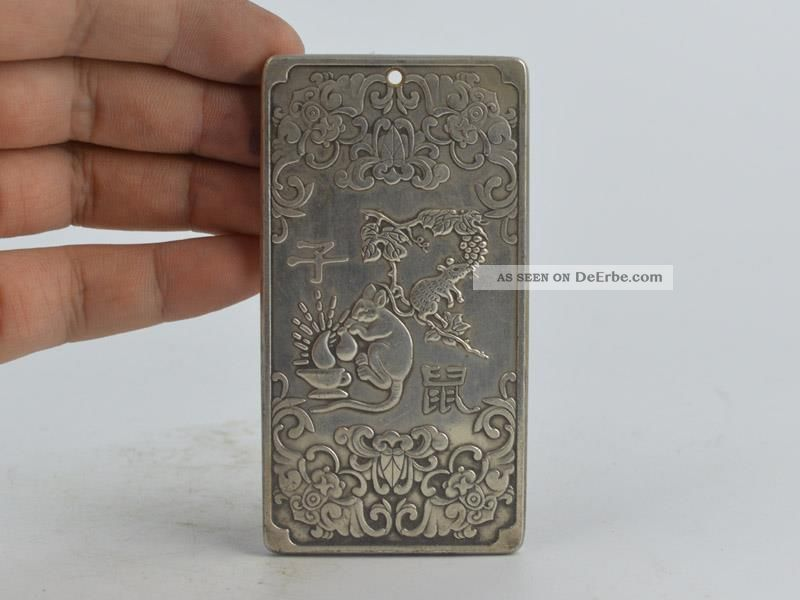 Collectible Decorated Old Tibet Silver Handwork Carved 12 Zodiac&mouse Pendant Antike Bild