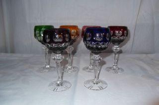 6 Stück Weinrömer Likörglas Römer Kristall Glas Gläser Geschliffen Bunt Bild