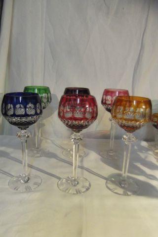 6 Stück Weinrömer Römer Kristall Glas Gläser Geschliffen Bunt Bild