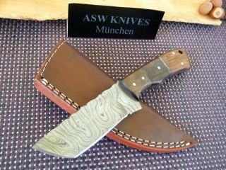 Damast Messer Jagdmesser Damastmesser Tanto Klinge Poliert 20,  5 Cm Handarbeit Bild