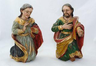 2 Antike Skulpturen Krippenfiguren Maria Josef Barock Heilige Figur Crib Cusco Bild