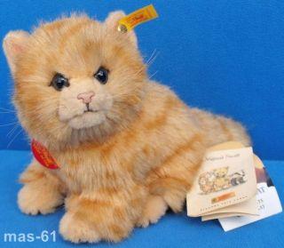 Steiff Whiskas Katze Cat 999154 Mit Steiff Knopf Schild & Fahne Bild