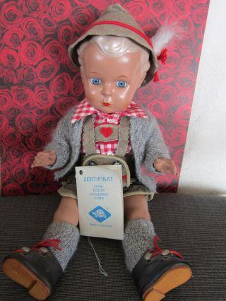 SchildkrÖt Puppe Hans Zertifikat Trachtenkleidung 34 Cm Bild