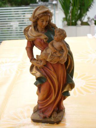 Holzfigur - Heiligenfigur - Madonna Mit Kind - - Coloriert - Geschnitzt - Deko Bild