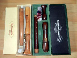 2 ältere Mollenhauer Blockflöten / Student & Chorus Barock Doppelloch Bild